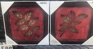 Kohl's New Boxed Metal Art 12 x 12- Hobby Lobby Metal Candle- Red Hand Painted Mirrors-2-Oval Wood plaque with hooks Red—Rustic Red Mirror w/Box- Rus for Sale in Arlington, TX