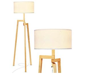 Brightech New Mia LED Tripod Floor Lamp– Modern Design Wood Mid Century Modern Light for Contemporary Living Rooms- Rustic, Tall Standing Lamp for Be for Sale in Diamond Bar, CA