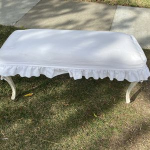 Antique shabby chic bench with ruffled linen slip cover for Sale in Brea, CA