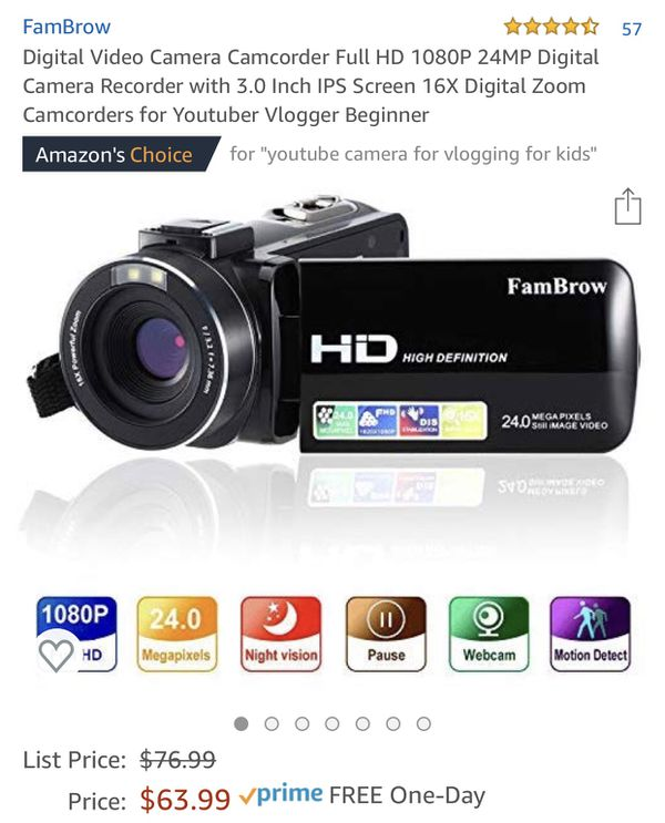 Digital Video Camera Camcorder Full HD 1080P 24MP Digital Camera Recorder with 3.0 Inch IPS Screen 16X Digital Zoom Camcorders for Youtuber Vlogger B