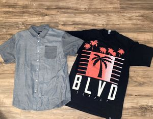 SEND OFFERS! MENS LARGE ZOO YORK BUTTON UP AND MENS LARGE BLVD SUPPLY T SHIRT for Sale in Huntington Beach, CA