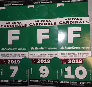 Arizona Cardinals Browns 49ers Steelers Green F Field Parking Passes ticket for Sale in Phoenix, AZ
