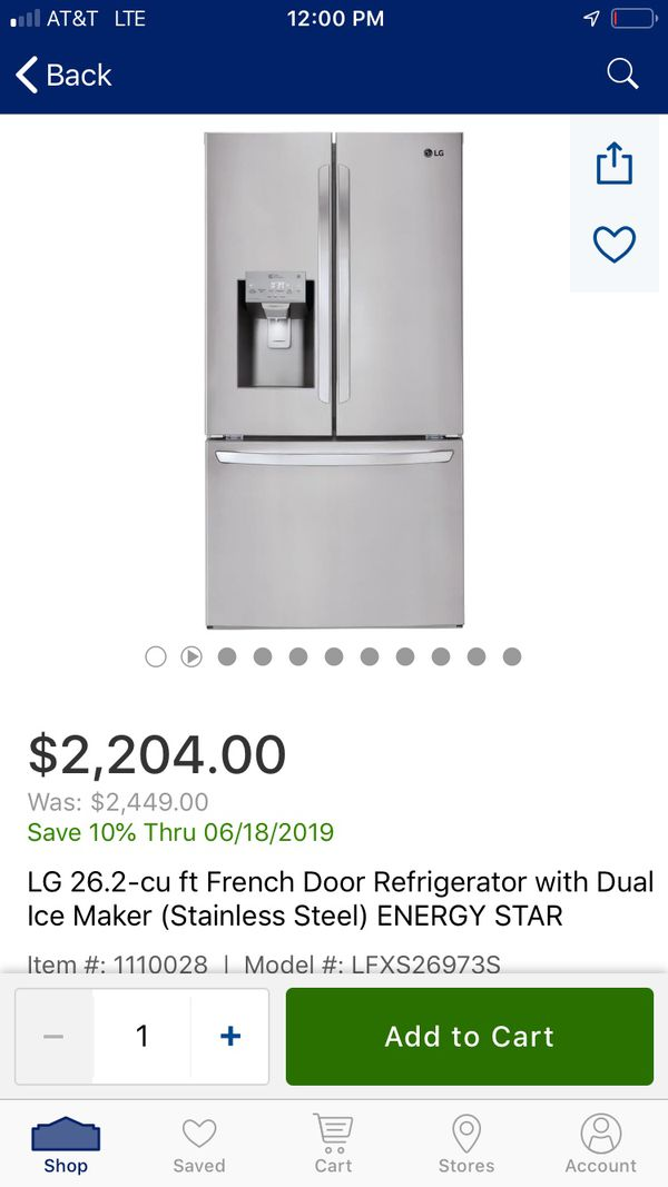 36 French door stainless steel Samsung refrigerator