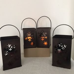 Lowered Price From $40 To $20 For All - 2 Never Used Metal With Glass Insert Candle Holders - 6 Inches Tall And 7 1/4 Inch Tall for Sale in Teaneck, NJ