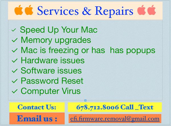 Apple computers Repair and Service   Hard drive issue, logic board,  password reset, Efi lock, install OSX  same day service  local for Sale in