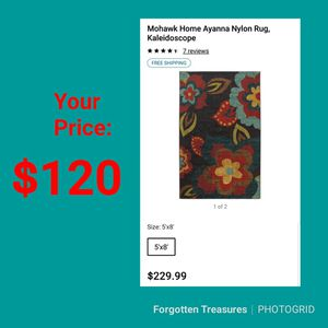 NEW Mohawk Home Ayanna Nylon Area Rug Kaleidoscope: 5x8: njft hsewres home decor for Sale in Burlington, NJ