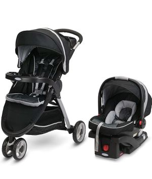Graco FastAction Fold Sport Travel System   Includes the FastAction Fold Sport 3-Wheel Stroller and SnugRide 35 Infant Car Seat, Gotham for Sale in Las Vegas, NV