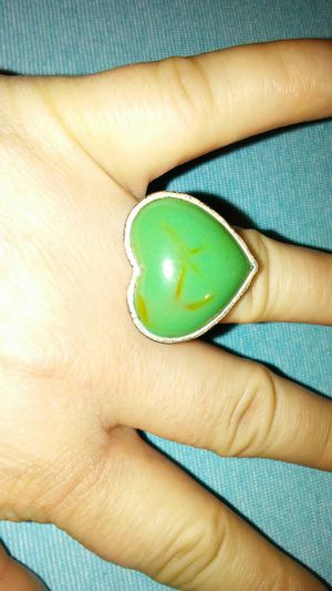 Large silver and green heart ring, size 8 for Sale in Killeen, TX