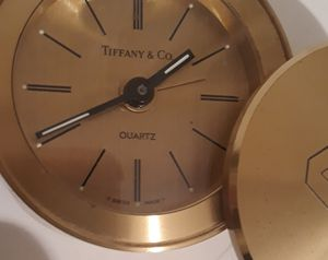 """Vintage Metal Tiffany & Co Brass Travel Alarm Clock, Swiss Made, 3"""" Wide. I Put a New Battery in it and I Can Hear it Ticking Inside, and I pulled On for Sale in Lakeside, CA"""