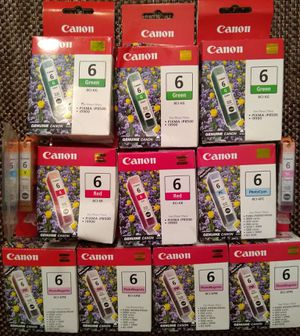 Canon BCI-6 Ink Cartridges Green, Magenta, Red, Yellow, and Cyan. for Sale in Hudson, FL