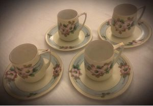 Gold/Golden Rimmed Floral/Flower Cup/Saucer Set display porcelain collectible vintage antique MEITO CHINA Hand Painted in Japan/Japanese for Sale in San Diego, CA