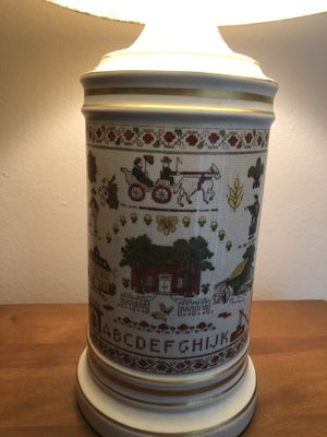 2 Vintage Cross stitch porcelain lamp in excellent condition for Sale in Yorba Linda, CA