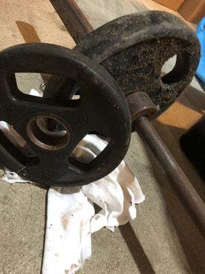 Barbell 2 25 lbs plates and 2 10 lbs plats for Sale in Woburn, MA