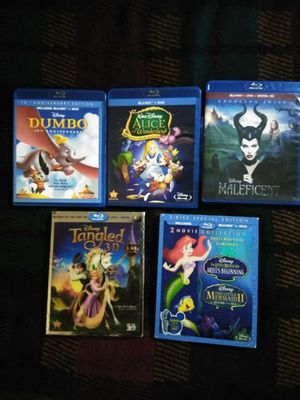 Dumbo, Alice, Maleficent, Tangled, The Little Mermaid. $20 DVD Blu-ray for Sale in Glendale, CA