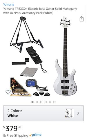 Yamaha TRBX304 Electric Bass Guitar Solid Mahogany with AxePack Accessory Pack (White) for Sale in Columbia, MD