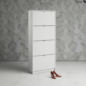 Tvilum Bright Wooden Shoe Cabinet, White 4 Drawers for Sale in Springfield, VA