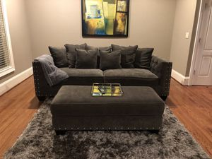 Rooms To Go : Cindy Crawford collection , Grey plush microfiber sofa with ottoman and double sitting chair for Sale in Atlanta, GA