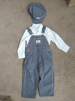 Child's Train Engineer Cap Hat, Striped Roundhouse Overalls and Long Sleeve White Dress Shirt size 3T Halloween Thomas and Friends for Sale in San Diego, CA