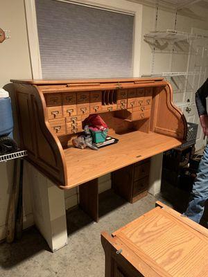 Antique oak roll top desk for Sale in Battle Ground, WA