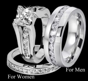 New 18 k white gold men's and women's wedding ring set engagement ring for Sale in Orlando, FL