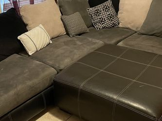 Grey And Black Partial Leather Couch for Sale in St. Petersburg,  FL