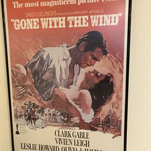 Gone With The Wind (1939) film poster in black, metal frame for Sale in Port Orchard, WA