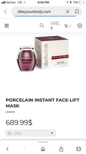 Porcelain instant face lift mask for Sale in Columbus, OH
