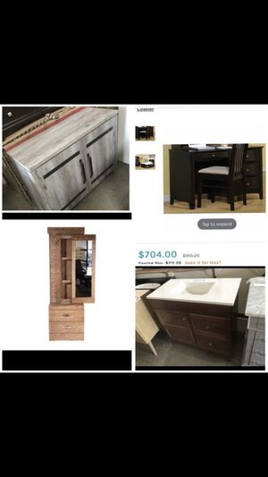 "Beautiful new items only 199$!!! Grey cabinet, office desk, bathroom vanity 36"", bedroom vanity storage for Sale in San Leandro, CA"