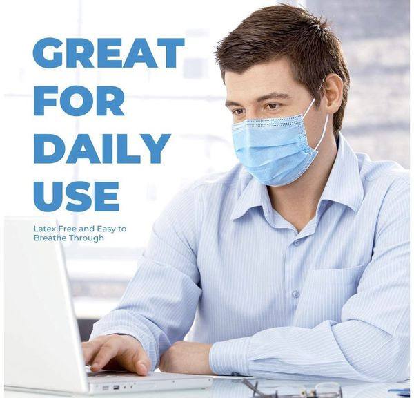 Disposable Face Masks, 3-Layer Safety Masks Breathable Mouth Mask with Adjustable Nose-bridge