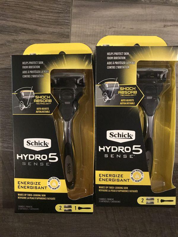 Schick hydro 5 sense energize razor w/2 cartridges $6.50 each