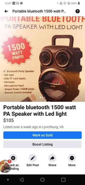 Portable Bluetooth speaker for Sale in Amherst, VA