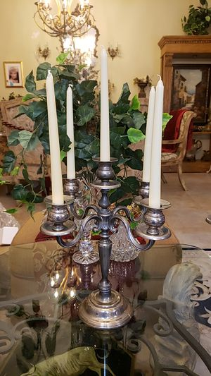 Beautiful pair of vintage 5 arm silverplate candelabras for Sale in Boynton Beach, FL