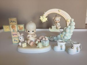 $35 FIRM❗️IF POSTED THEN AVAILABLE❗️LOT of 4 Vintage PRECIOUS MOMENTS Baby Boy Figurine with Box, Cross, Shoes and Cloud Bear for Sale in Plainfield, IL