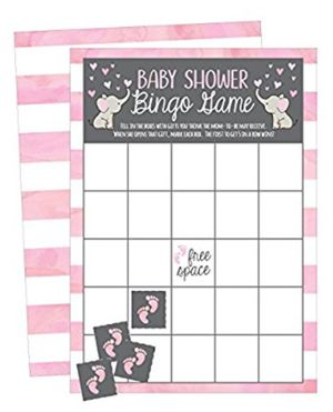 NEW! 25 Pink Elephant Bingo Game Cards For Girl Baby Shower, Bulk Blank Bingo Squares, PLUS 25 Pack of Baby Feet Game Chips, Funny Baby Party for Sale in Stuart, FL
