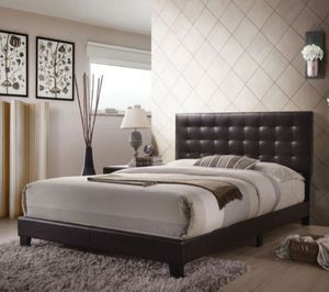 Queen leather platform bed with mattress and box spring for Sale in New York, NY