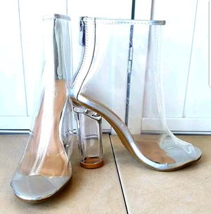 Size 7 US transparent clear high heeled boots shoes in box for Sale in Falls Church, VA