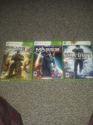 3 Xbox 360 games GOW3 ME3 CODWAW for Sale in Detroit, MI