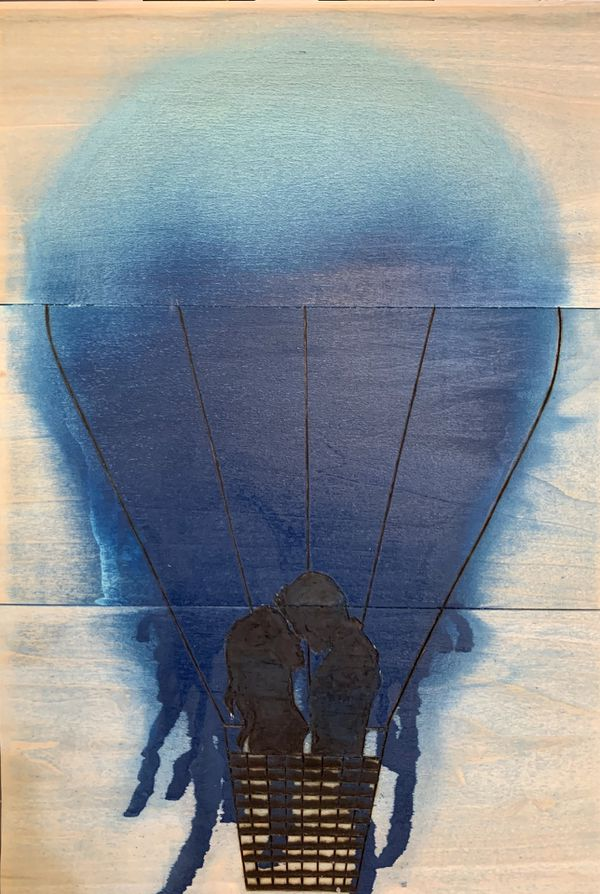 Romantic hot air balloon spray paint and wood burning art on wooden plaque