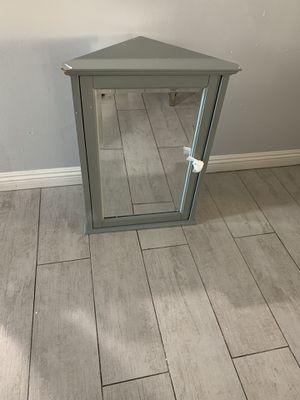 Corner wood wall cabinet grey Hamilton for Sale in Glendora, CA