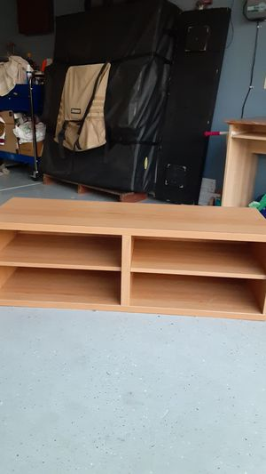 Oakwood tv stand with shelves for Sale in Hesperia, CA