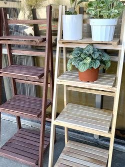 Wooden Ladder Shelf Leaning Bookcase Bookshelf Plant Shelf Plant Stand for Sale in El Monte,  CA