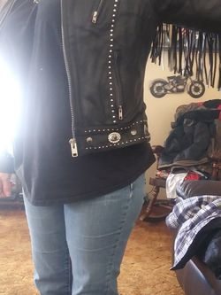 Lady's Studded Fringe Leather Jacket Large for Sale in Midwest City,  OK