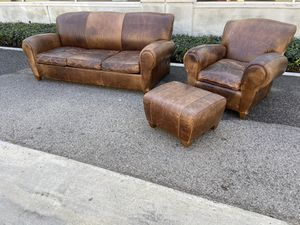 High End Leather Sleeper Sofa and Club Chair Ottoman Set for Sale in Burbank, CA