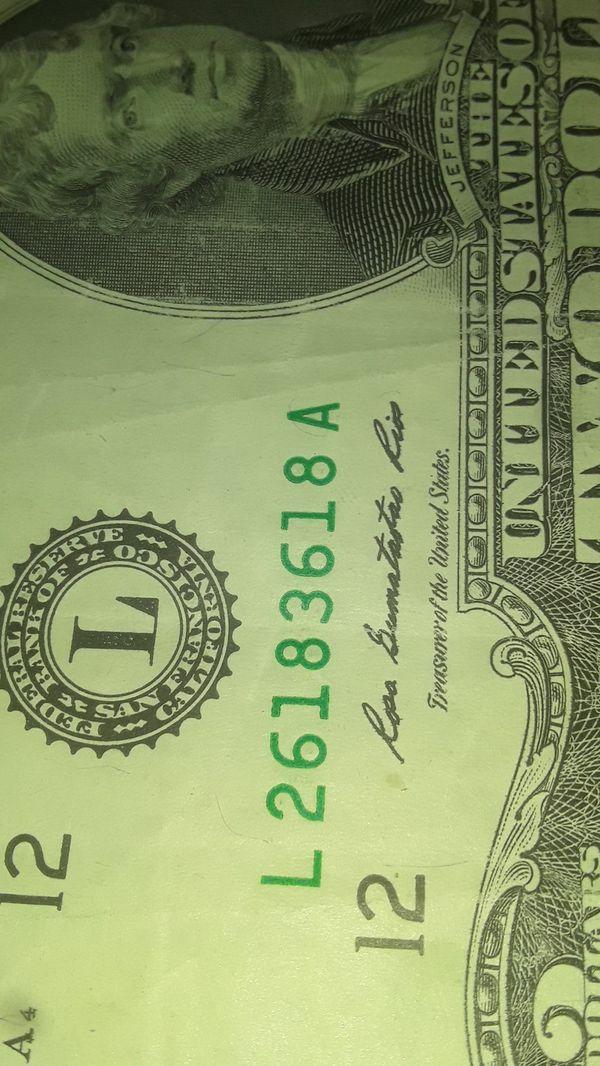 Very nice serial number 2 dolar bill 26193618