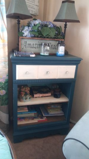 STUNNING DARK TEAL AND WHITE BOOKCASE/DRESSER/ END TABLE for Sale in Edgemere, MD