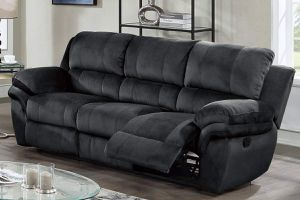 BLACK PADDED SUEDE SOFA MOTION RECLINER USB / SILLON RECLINABLE NEGRO for Sale in Covina, CA