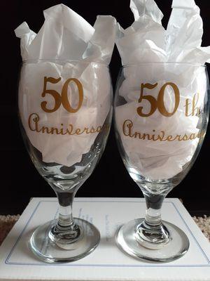 (2) 50th ANNIVERSARY WINE GLASSES for Sale in Myrtle Beach, SC