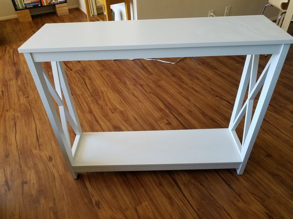 White cross-base console table / end table