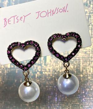 Betsey Johnson Pink Heart Pearl Earrings for Sale in Alhambra, CA