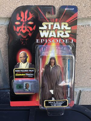 1998 Star Wars Episode 1 The Phantom Menace Collection 3 - Mace Windu with Lightsaber and Jedi Cloak action figure. This also comes with the Commtec for Sale in Los Angeles, CA
